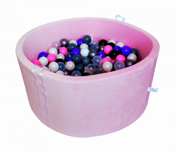 Suchy basenik BabyBall z piłeczkami (200 szt) - pudrowy róż, velur