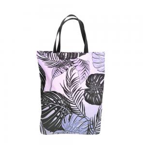 EKO torba bawełniana - szare liście na jasnym tle