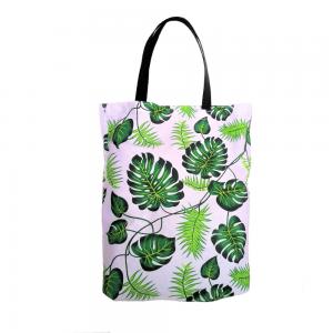 EKO torba bawełniana - zielone liście monstera na jasnym tle