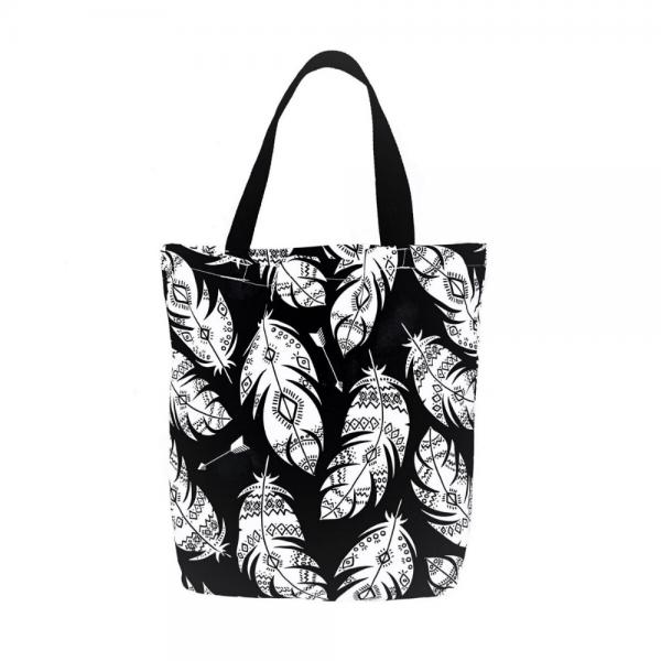 EKO torba bawełniana - białe pióra na czarnym tle
