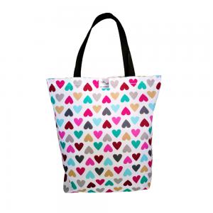 EKO torba bawełniana - kolorowe serduszka