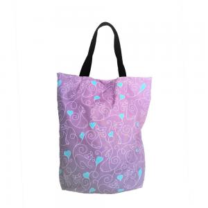 EKO torba bawełniana - koty i turkusowe serca