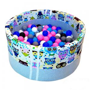 Suchy basen z kulkami - Niebieskie sowy