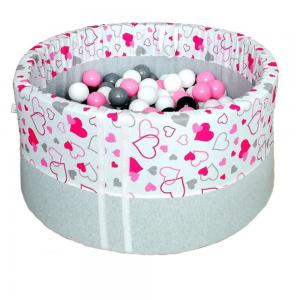 Suchy basen z kulkami - Różowe serduszka