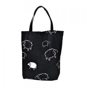 EKO torba bawełniana - owieczki na czarnym tle