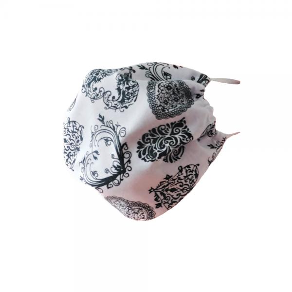 Maseczka ochronna bawełniana - Koronka na białym