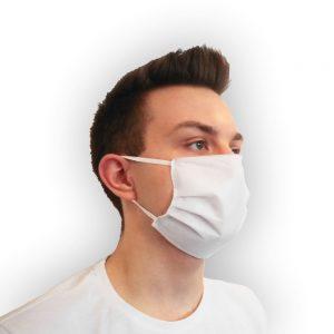 Maseczka ochronna na twarz, biała, 3 warstwowa