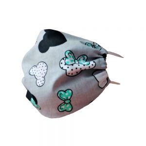Maseczka ochronna bawełniana dla dzieci - Myszki z zielonymi kokardkami