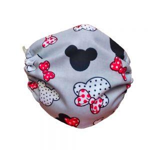 Maseczka ochronna bawełniana dla dzieci - Myszki z czerwonymi kokardkami