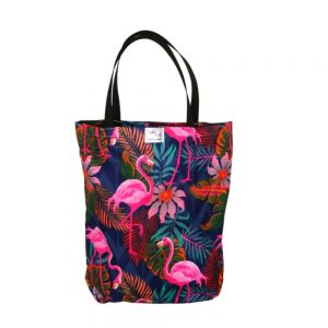 Torba bawełniana wielorazowa - Różowe flamingi