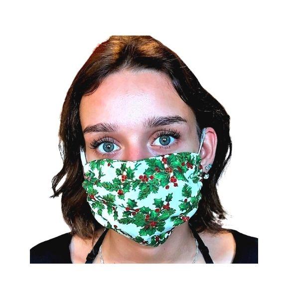 Maska ochronna bawełniana - ostrokrzew świąteczny