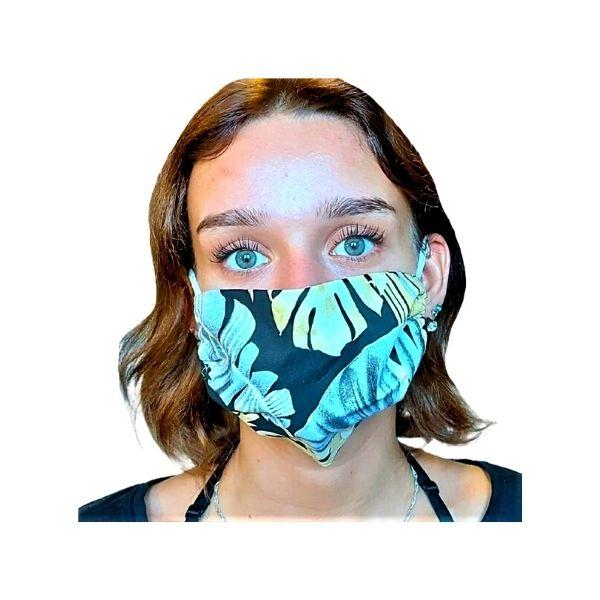 Maska ochronna bawełniana - szare i żółte liście