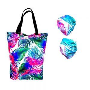 Zestaw maseczka bawełniana & torba bawełniana - palmy na jasnym tle