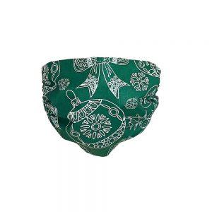 Maseczka ochronna bawełniana - choinki na zielonym tle