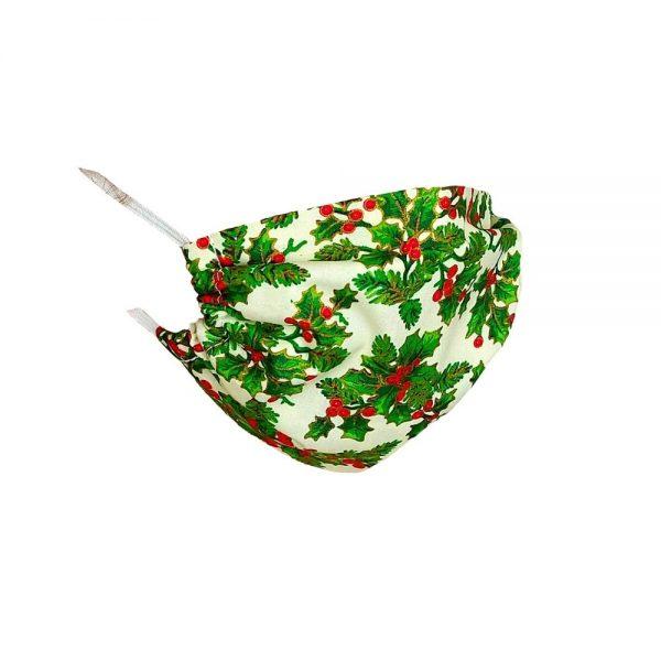 Maseczka ochronna bawełniana - ostrokrzew świąteczny
