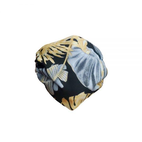 Maska materiałowa w szare i złote liście