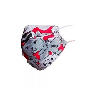 Maska materiałowa wczerwone koty