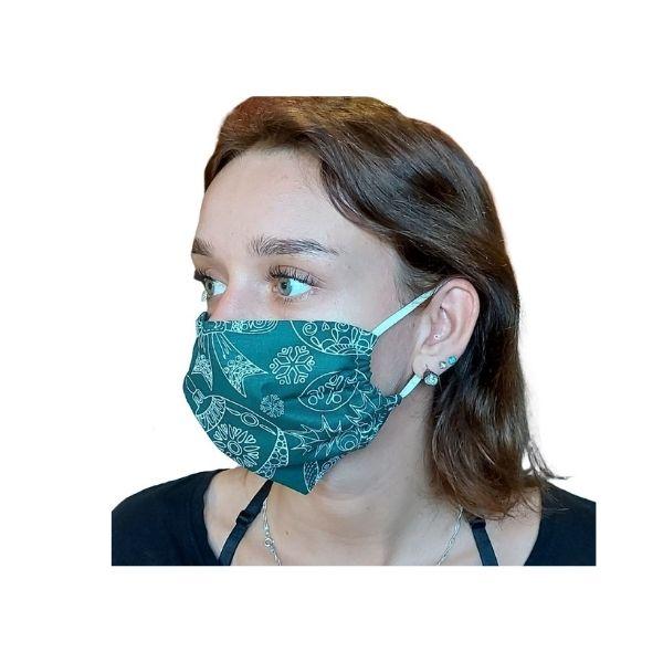 Maska ochronna bawełniana - choinki na zielonym tle