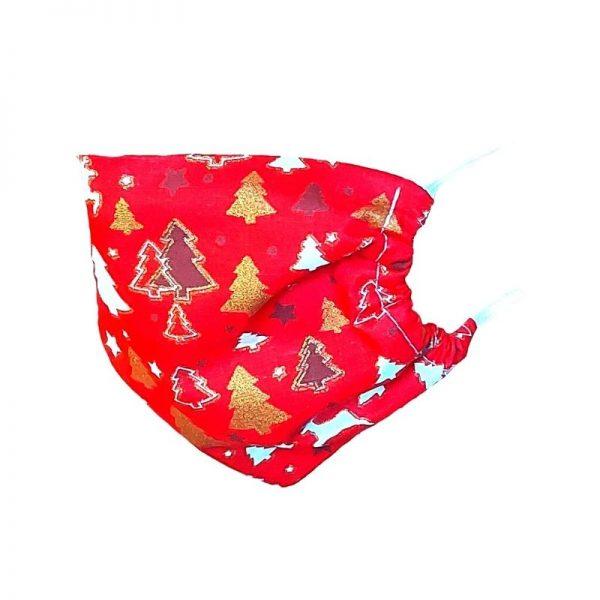 Maska ochronna bawełniana - czerwone choinki