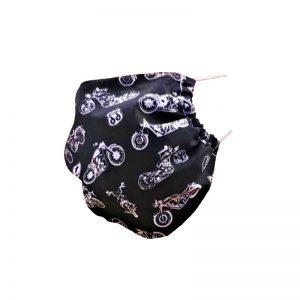 Maska ochronna bawełniana - harley naczarnym tle