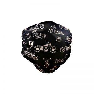 Maska ochronna bawełniana - harley na czarnym tle