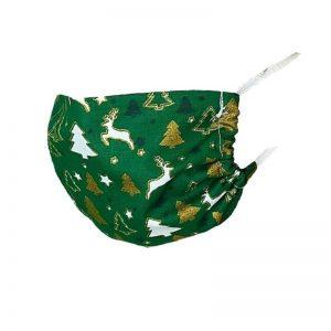 Maska ochronna bawełniana - zielone choinki