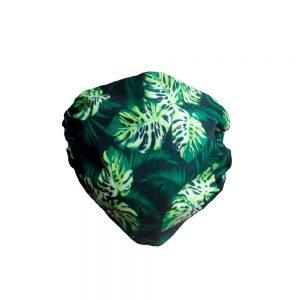 Maseczka ochronna bawełniana - zielone liście monstera