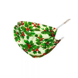 Maseczka ochronna bawełniana dla dzieci - świąteczna ostrokrzew