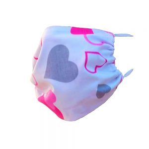 Maseczka ochronna bawełniana dla dzieci - różowe serduszka