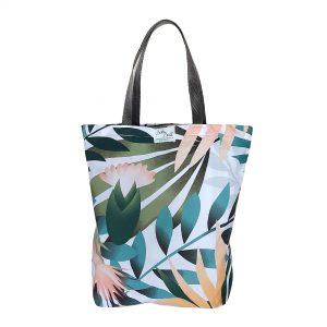 Torba bawełniana wielorazowa - pastelowe liście palmy